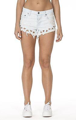 LF carmar distressed light wash TRIANGLE CUTOUT denim shorts NWT sz 27 $228