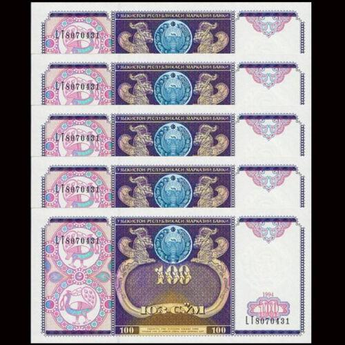 UNC 1994 P-79 Lot 5 PCS Uzbekistan 100 Sum