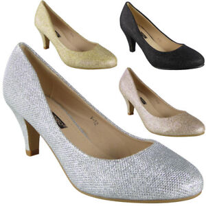 Womens-Glitter-Mid-Heels-Court-Shoes-Party-Bridesmaid-Wedding-Bride-Ladies-Size