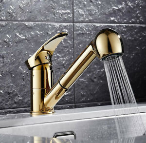 Kitchen Sink Faucet Pull Out Sprayer Nozzle Spout Swivel Mixer Tap Brass Gold