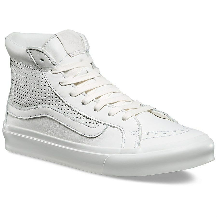 VANS Sk8 Hi Slim Cutout (Square Perf) Blanc White Leather WOMEN'S 8.5
