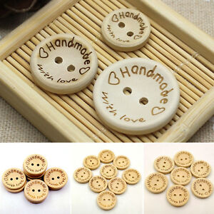 100pcs-pack-2Holes-Sewing-Craft-Round-Wood-Buttons-Handmade-with-Love-Letter-DIY