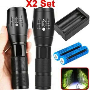 Led Flashlight T6 Torch Tactical Xm L Zoomable Usa Battery Charger Light Police