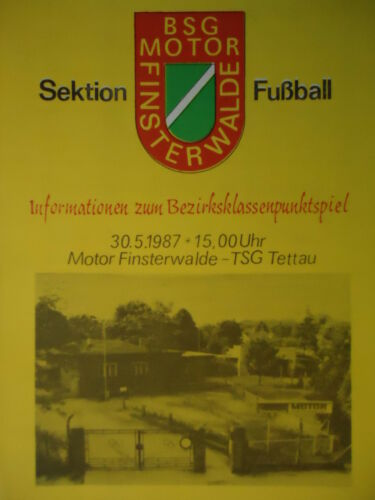 TSG Tettau Programm DDR Bezirksklasse 1986//87 Motor Finsterwalde