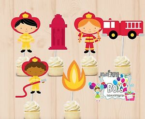 Firefighter Cupcake Toppers 24 Pc Firemen Party Supplies Ebay