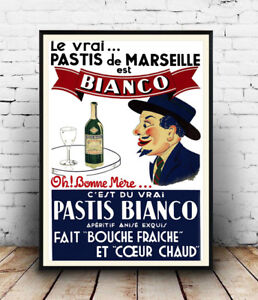Pastis-Bianco-Vintage-Drink-advert-poster-Wall-art-poster-reproduction