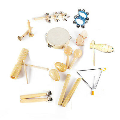 12 types Orff Musical Instruments Kids Wood Percussion Drum Maracas Toys Kit