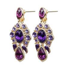1 Paar Frauen 's Inlay Lila Perlen Ohrringe Mode Strass Piercing Lange Ohrs T4D0