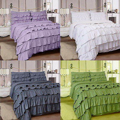 4Pc Ruffles Complete Duvet Cover Bedding Set With Fitted Sheet & Pillowcase