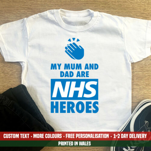Kids My Mum And Dad Are NHS Heroes T Shirt Boys Girls Doctor ICU Nurse Gift Top