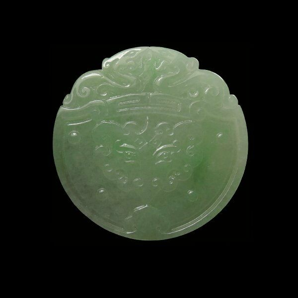 【KOOJADE】Icy Translucent Floral Green Dragon Jadeite Pendant