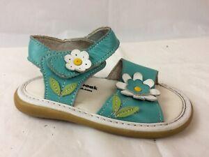Wee-Squeak-Girls-6-Toddler-Baby-Ankle-Strap-Sandal-Shoe-Teal-Blue-Leather-Floral
