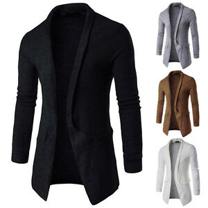 Luxury-Men-039-s-Casual-Slim-Fit-Long-Sleeve-Knitted-Cardigan-Pocket-Trench-Coat