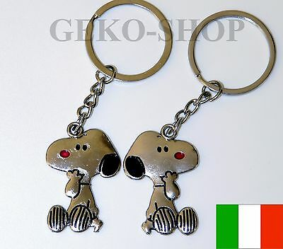 2x Portachiavi Coppia Cane Snoopy Idea Regalo Fidanzati Fratelli Amici