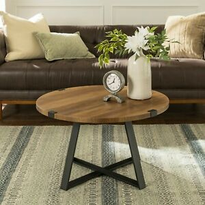 Coffee Table Round Rustic Reclaimed Farmhouse Industrial Wood Metal Living Room Ebay