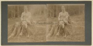 Militaire Foto Stereo Amateur snapshot n1 Vintage Citrato c1900