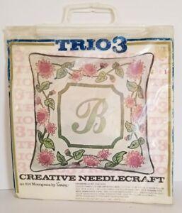 Vintage-Floral-Monogram-Pillow-Needlecraft-Kit-Trio-3-Shabby-Made-USA