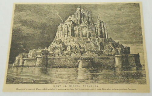 1884 magazine engraving ~ Mont St. Michael, Normandy