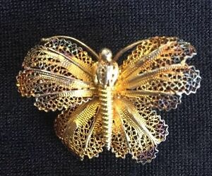 eb245698321c5 Antique Butterfly Pin Gold Tone C Clasp Lace Filigree | eBay