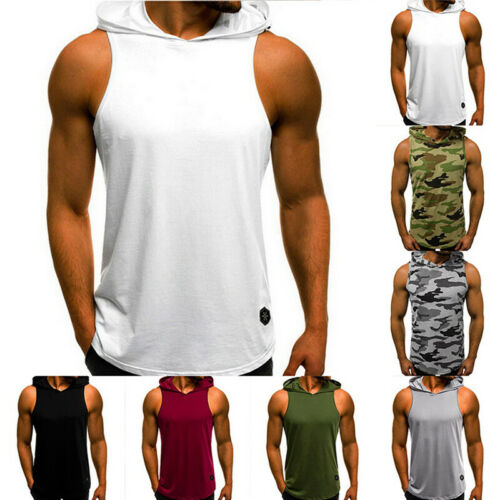 Men Casual Sleeveless Vest Hoodie Sport Pullover T-Shirt Casual Loose Basic Tops