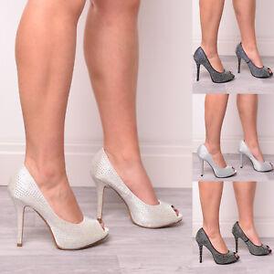 Ladies-Womens-Bridal-Prom-Wedding-Bridesmaids-Diamante-Peep-Toe-High-Heel-Size