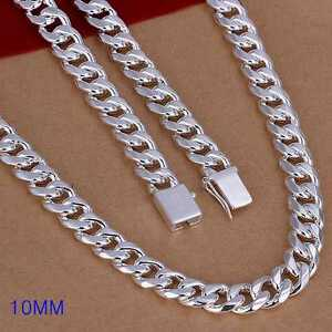 Fashion-925Sterling-Solid-Silver-Men-Jewelry-10MM-Chain-Necklace-24inch-N011