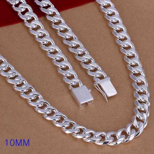 N011 environ 60.96 cm Fashion 925 Sterling Argent Massif Hommes Bijoux 10 mm collier 24 In
