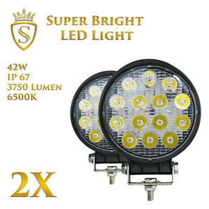 2X-42W-LED-Arbeitsscheinwerfer-Offroad-Scheinwerfer-12V-24V-fuer-Jeep-SUV-Bagger