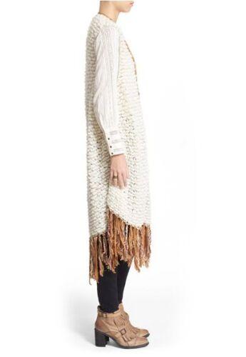NWT Free People /'Madeline/' Long Fringe Vest Retail $248
