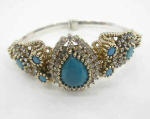 925 Sterling Silver Handmade Gemstone Turkish Onyx Bracelet Bangle Cuff