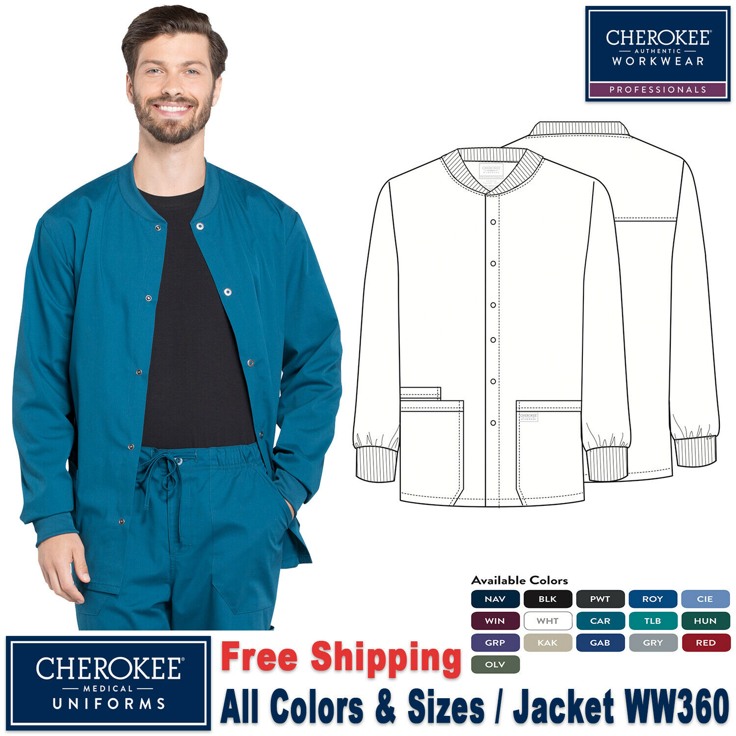 Red Cherokee Scrubs Workwear Professionals Mens Warm Up Jacket WW360 RED