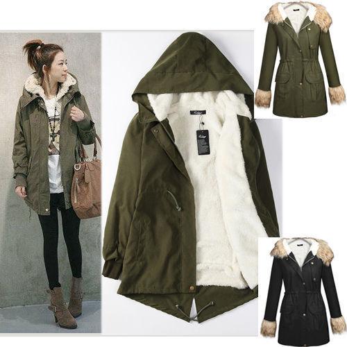 AU Women Hooded Parka Fleece Lined Tops Winter Warm Long Jacket Zip Coat Outwear