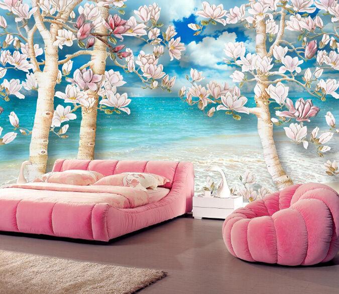 3D Weißer Strand, Blumen 244 244 244  Fototapeten Wandbild Fototapete BildTapete Familie 9cc0e7