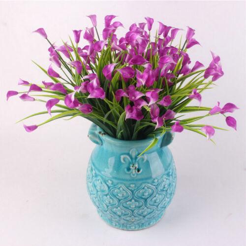 28 Heads//Bouquet Silk Fake Lily Plant Mini Artificial Calla With Leaf Home Decor