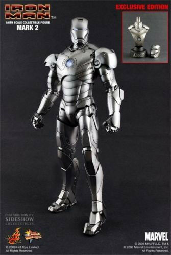 Hot Toys Iron Man Movie Mark II 2 Sideshow Exclusive 1:6 Scale With Bust  MMS78