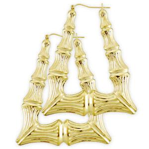 8893a9e8d Image is loading Large-10K-Gold-Rectangular-Door-Knocker-Bamboo-Earrings-