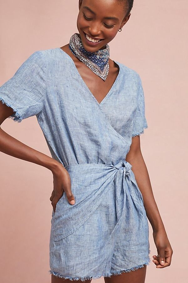 NWT Anthropologie Sanctuary bluee Linen Montana Tie-Front One Piece Romper XL