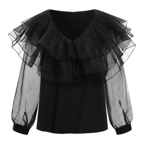 UK Women Long Sleeve See Though Ruffle Lace Tops Party Casual Holiday Shirt Tee
