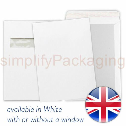 Pack of 25 C4 A4 Hard Board Back Backed White Envelopes With Window 229 x 324 mm