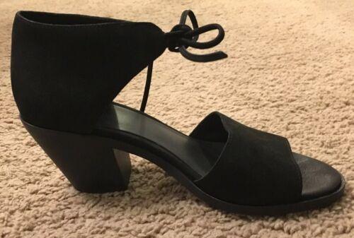 """Eileen Fisher """"Ann"""" Sandals, Nubuck, Stacked Heel"""
