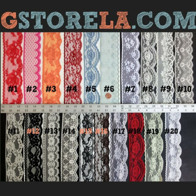 """2"""" to 2.5"""" inch Floral Lace Edge Trim 5,10 Yards Choose Colors! 004"""