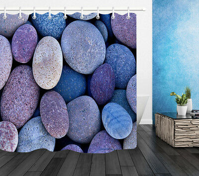 Colorful Sleek Pebbles Shower Curtain Liner Waterproof Fabric Bathroom Set Hooks