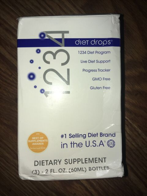 1234 Diet Drops Appetite Suppressant Weight Loss Supplement Fat Burner (3 pack)