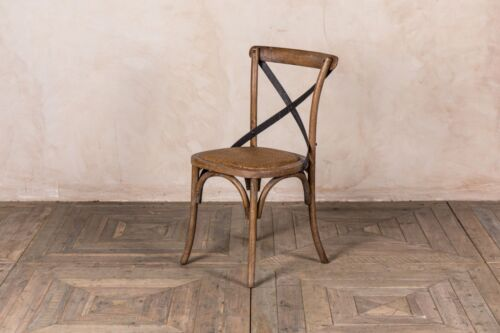 WOODEN KITCHEN CHAIR TRADITIONAL CROSS BACK CHAIR IN RUSTIC OAK RATTAN SEAT Reproduction Chairs