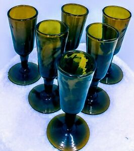 Set-of-6-Vintage-Cordial-Liqueur-Stemmed-Shot-Amber-Glasses-3-1-4-034-x-1-034
