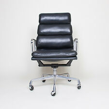 Eames Herman Miller High Back Soft Pad Aluminum Group Chair Black Leather