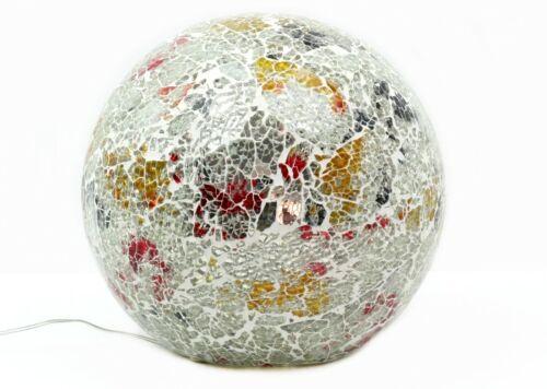 Formano Mosaik-Kugel silber-bunt 20 cm Glas LED Lampe Kugelleuchte
