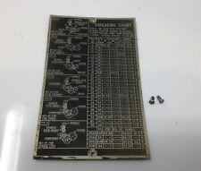 Atlas Craftsman Metal Lathe 6 618 Threading Chart With Rivets Free Shipping