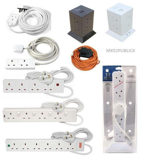 White Masterplug 4m 10 Gang 13A Surge Protected Tower Extension with 2 USB Charging Points