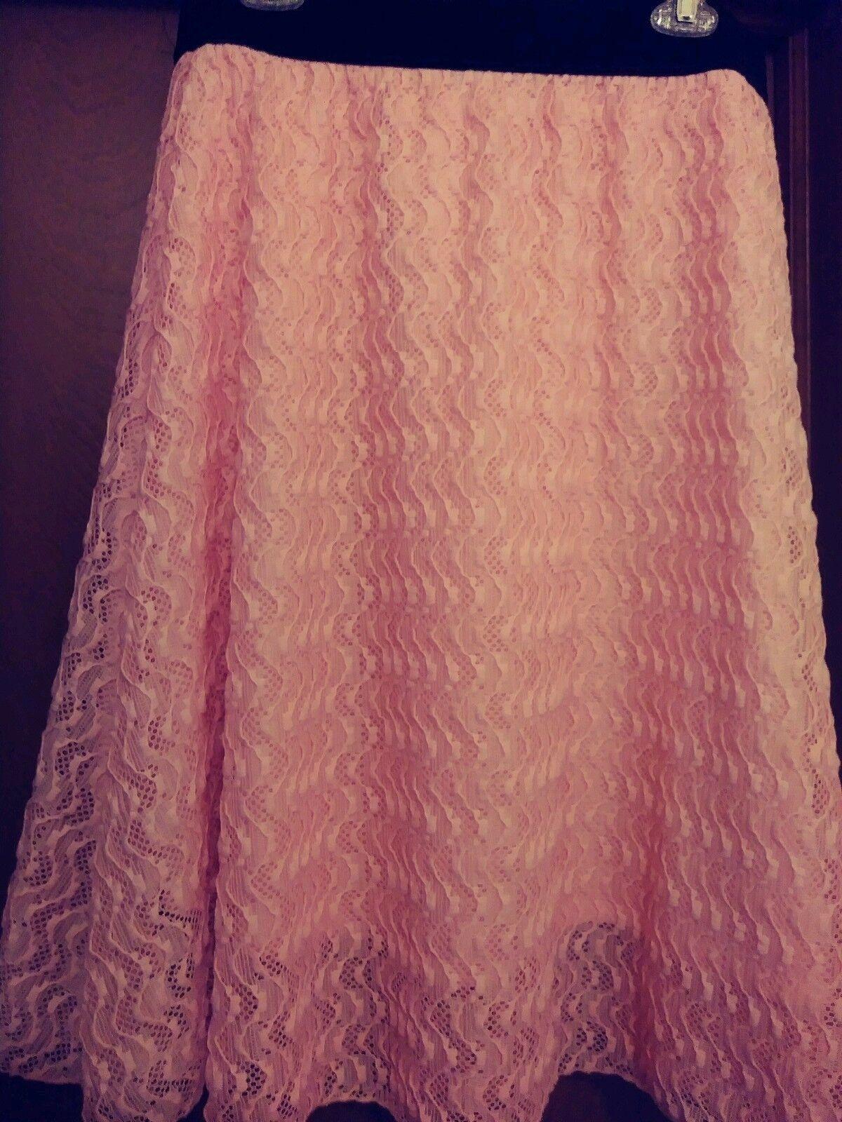 Lularoe Pink Lace Lola Skirt--Size XL